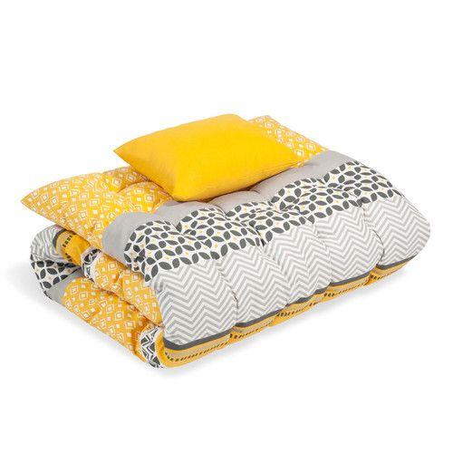 Materasso per lettino prendisole in cotone giallo/grigio 60 x 170 cm SUNNY