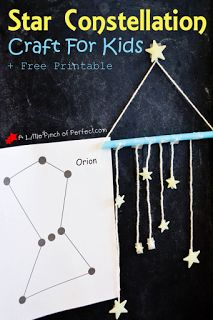 How to Make a Hanging Glow in the Dark Star Constellation Craft with Kids- Including Printable-Click to see it Glow in the Dark