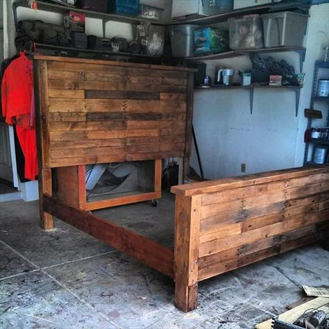 DIY King Size Pallet Bed Frame   99 Pallets (idk about the DIY from pallets part, I just love the look of this bed frame)