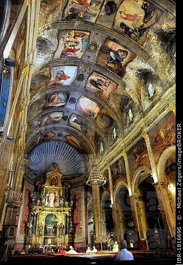 Altar, interior decoration and ceiling painting in the church Nostra Senyora dels Angels, Pollensa, Pollenca, Majorca, Balearic Islands, Mediterranean...