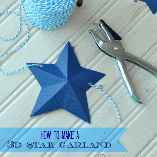 Fun project! An inexpensive garland for fourth of July... Add red and white paper stars, too. Learn how by searching on the internet for 'How to make a 3d star garland Creative Juice'.