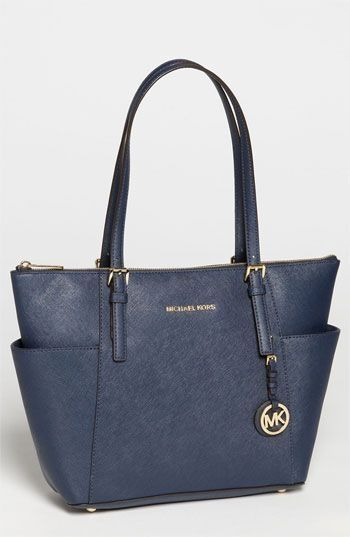 cb0543ba91af $248, Navy Leather Tote Bag: MICHAEL Michael Kors Michl Michl Kors Jet Set  Leather Tote Medium Navy. Sold by Nordstrom. Click for more info:  lookastic.com/.