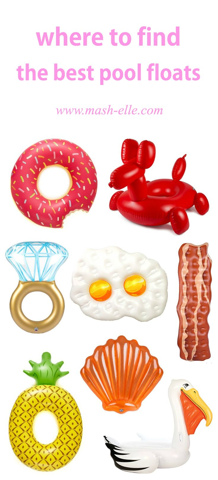 Ummm.. these are seriously amazing! | Fashion, beauty and lifestyle blogger Mash Elle rounds up the best adult pool floats on the Internet! This pool float guide explains where to get the best affordable pool floats for pool parties, beach getaways, vacations etc! Click here to see pool floats of all kinds including: a donut, pelican, pineapple, sea shell, diamond ring, ballon animal, rainbow, american flag, lobster, smarties, tootsie roll, pizza slice, popcorn, cactus, bacon and...