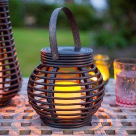 Tesco direct: Round Rattan Solar Powered LED Garden Lantern