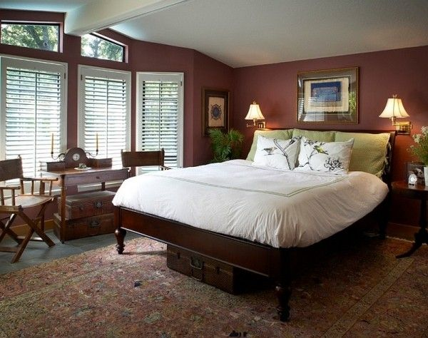 Pantone color of the year Marsala used for the bedroom walls