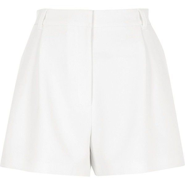 River Island White high waisted smart shorts (£43) ❤ liked on Polyvore featuring shorts, bottoms, smart shorts, white, women, river island, woven shorts, zipper shorts, tall shorts and high rise shorts