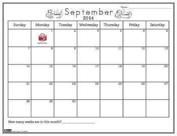Calendar Activities 2014 2015 By Innovative Teacher #science #math  #printables