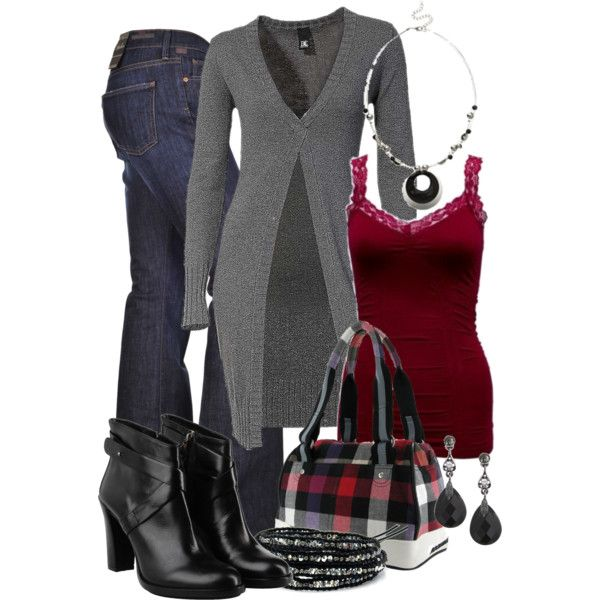 dark red and grey with casual jeans