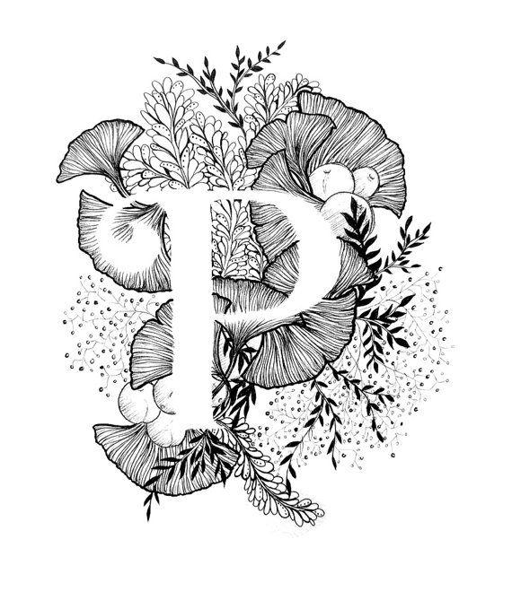 Art print van de letter P met florale achtergrond. Geweldig cadeau! Message me voor aanpassingen of in opdracht van de stukken. Zwart-wit inkt, meer letters van het alfabet binnenkort.