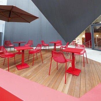 emu - Round Gartentisch quadratisch - weiß/lackiert/LxBxH 80x80x75cm