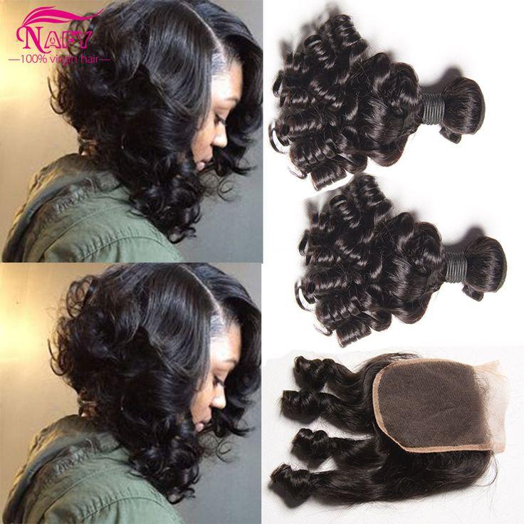 Brasiliano Capelli Ricci Con Chiusura Riccioli gonfiabili Capelli 4 Bundles Offerte 100 dei capelli umani nafy prodotti per i capelli romance curl tessuto morbido 1b