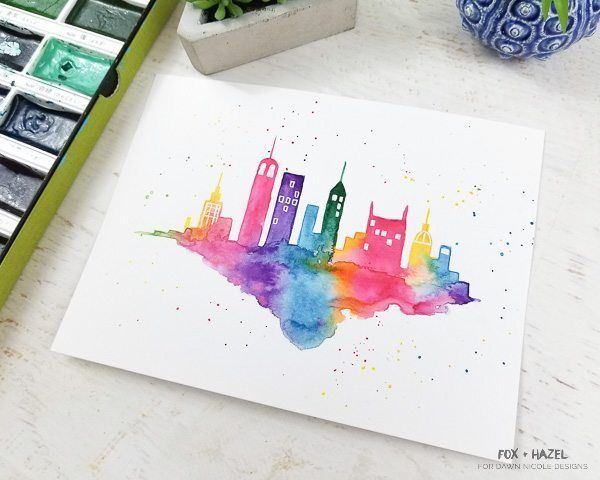 Easy Watercolor Cityscape Step By Step Tutorial Learn Watercolor