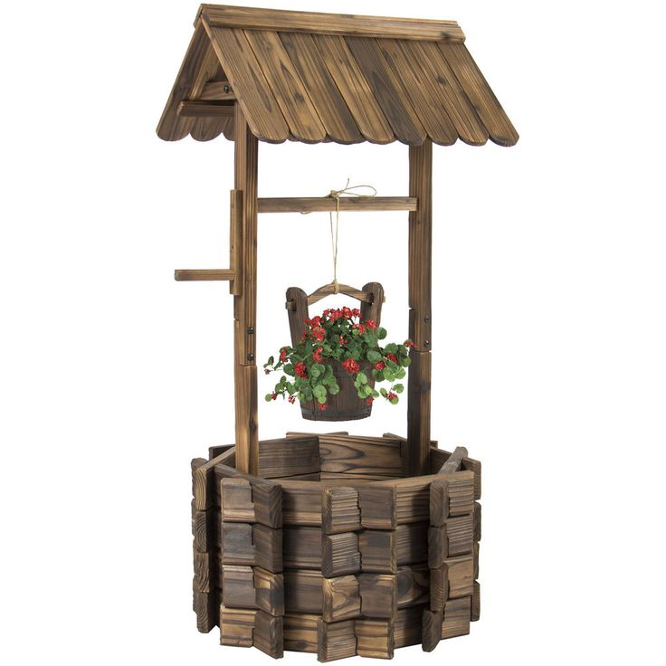 This lovely water well planter will add an elegant and stylish look to your lawn or garden. It has a burnt-like wood finish for a rustic appearance. The well is constructed of solid fir wood that will keep this planter durable and long-lasting. | eBay!