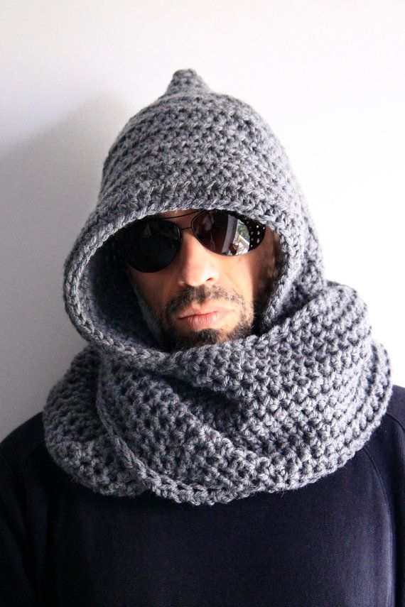 Grey hooded infinity scarf unisex hood circle scarf, by polixeni19