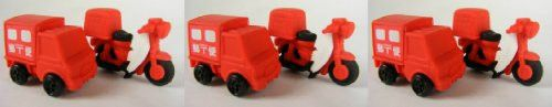 Iwako Japanese Delivery Truck & Bike Eraser New 2013, a Set of 6 Pieces.