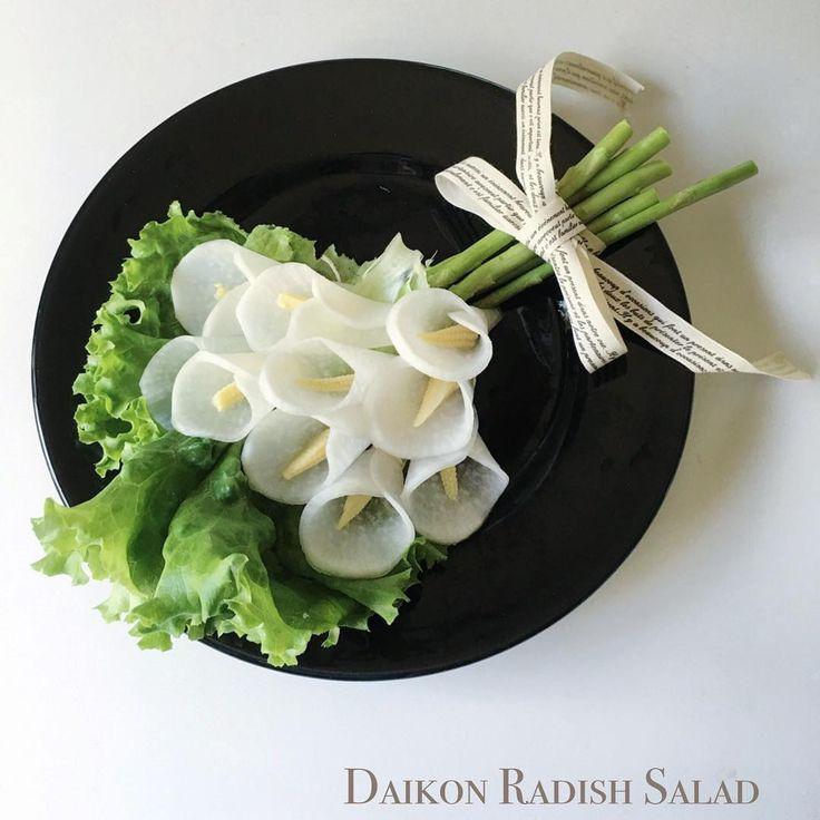いいね!262件、コメント46件 ― noricoさん(@muguet_journal)のInstagramアカウント: 「I made bouquet salad with daikon radish, baby corn, and asparagus.  Do they look like calla lilies?…」