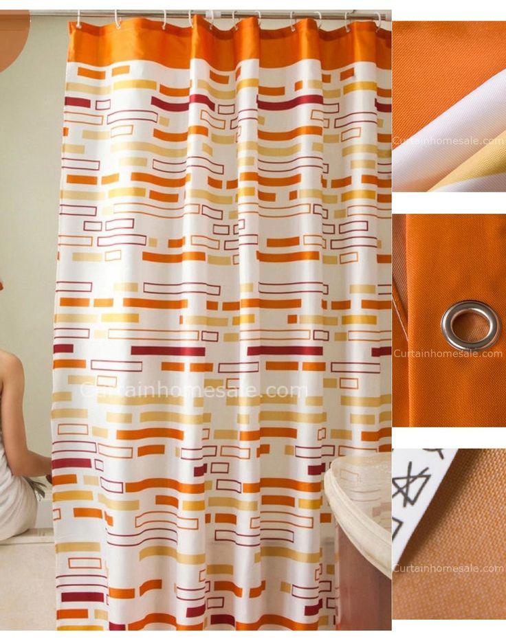 Fancy Orange Color Geometric Print Fun Shower Curtain