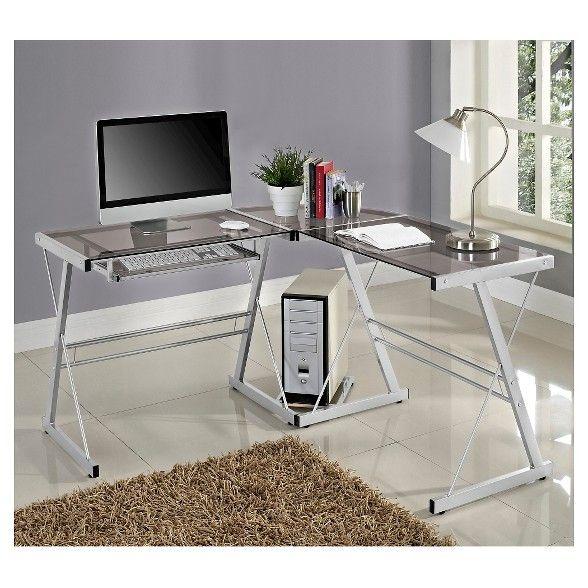 Glass L Shaped Computer Desk With Keyboard Tray Saracina Home Glasschreibtisch Computertisch Ashley Mobel