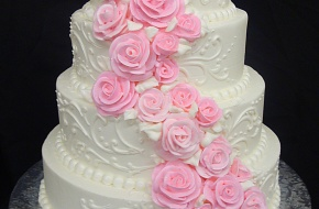 My fav. but with all white flowers.: Pink Wedding, Blue Flowers, Cakes Inspiration, Custom Cakes, Wedding Pink, Red Rose, Pink Rose, Beautiful Cakes, Indian Wedding