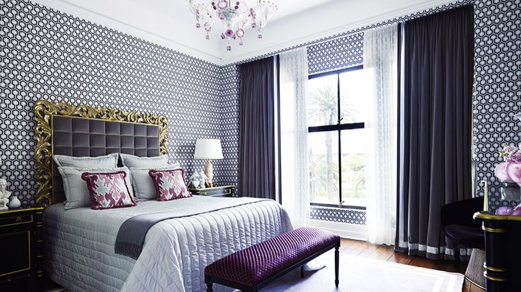 A Chic and Feminine Australian Apartment// David Hicks hexagon: Decor, Colors Trends, Ideas, Grey Bedrooms, Curtains, Bedrooms Design, Interiors Design, Master Bedrooms, Purple Bedrooms
