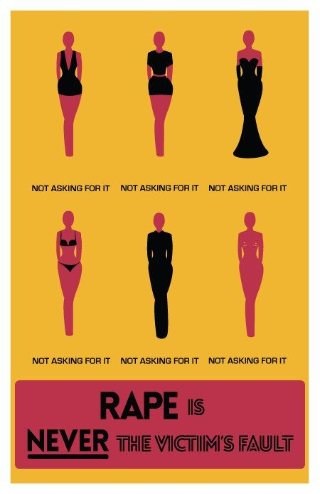 """Rape is never the victim's fault. No one """"asks"""" to get raped, it just happens. A women should be able to wear whatever she wants without being judged. Rapist are the only cause of rape and their are no other factors that add to that. Evil people are simply looking for an excuse to make rape acceptable."""