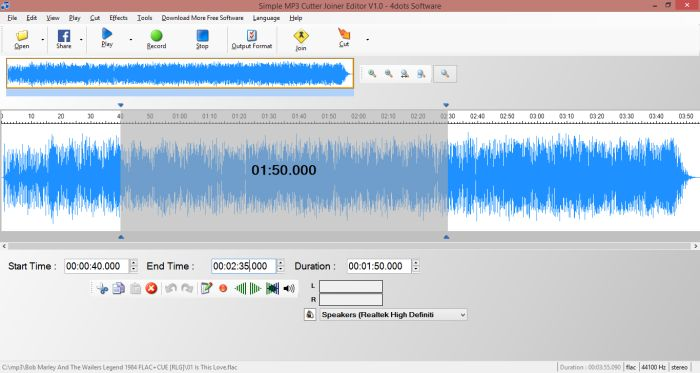 Simple MP3 Cutter Joiner Editor - Cut, join, split, record and mix MP3 and other audio formats.