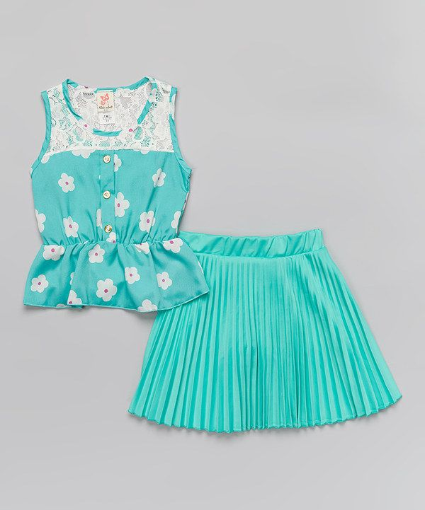Love this Mint Floral Lace Top & Skirt - Toddler & Girls by Kidz WinC on #zulily! #zulilyfinds