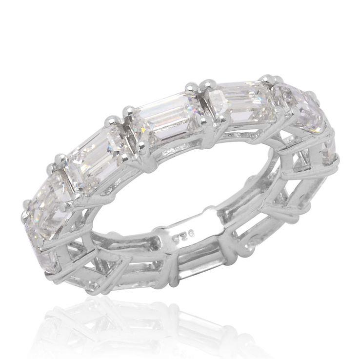 J FRANCIS Women Platinum Plated 925 Sterling Silver Made with Swarovski® Zirconia Designer Ring Size R MDhLX