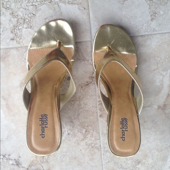 Gold wedge shoes Worn once, perfect condition Charlotte Russe Shoes Wedges