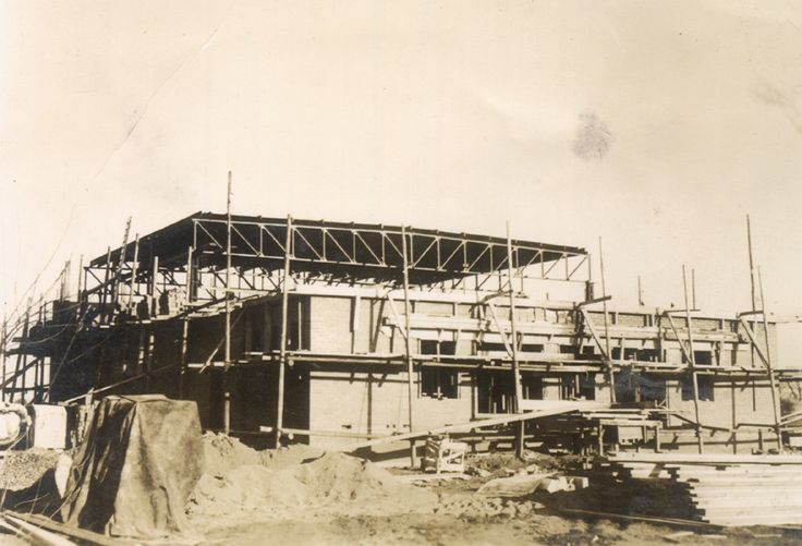 Bata Estate East Tilbury Cinema under construction, designed and constructed by East Tilbury Building Department, opened Oct 14th 1938