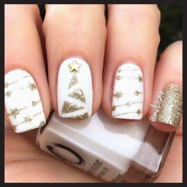 Gold Christmas Nail Art Designs