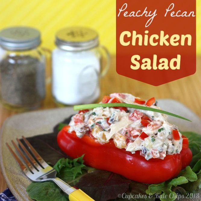 Peachy Pecan Chicken Salad  - A Greek yogurt-based chicken salad with a hint sweetness balanced by freshness from parsley and some savory scallion, with crisp red pepper and crunchy pecans for texture. cupcakesandkalechips.com #glutenfree #greekyogurt #chickensalad