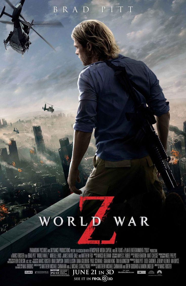 ★★★★World War Z (2013) Actie/Horror, Gerry Lane (Brad Pitt) is een toegewijde vader en echtgenoot die werkt voor het leger en de overheid. Wanneer een zombie-apocalyps uitbreekt, wordt Gerry door de regering gevraagd om de invasie tegen te gaan. Tegelijkertijd moet hij zijn vrouw en kinderen beschermen tegen de verbazingwekkend snelle, vleesetende zombies.