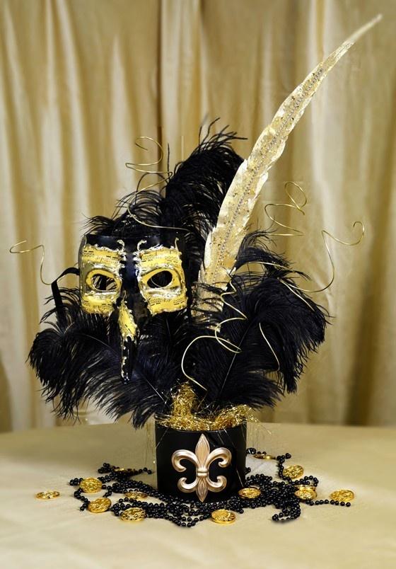 Black Gold Masquerade Mask Centerpiece Tutorial Mardi Gras Centerpieces Masquerade Party Centerpieces Black Gold Party