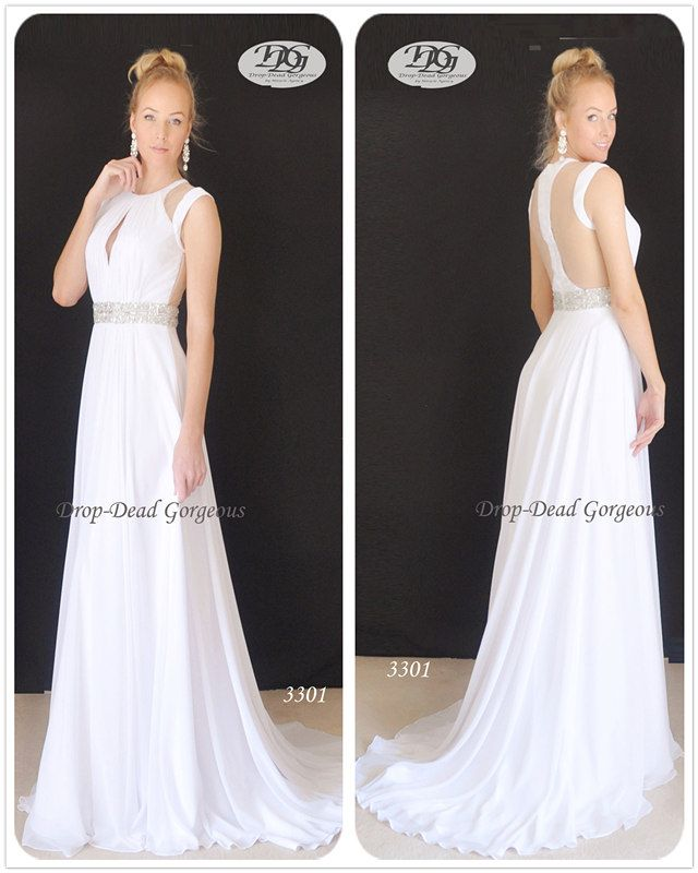 Georgette Wedding Dress:  Lux fabric with illusion back, featuring a keyhole front and a gorgeous beaded waist.   #DDGMA #DropDeadGorgeous #MiracleAgency #Weddingdress #weddings www.miracleagency.net