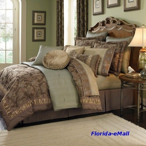 King Croscill Marcella 4 Piece Comforter Set Bedding Elegant Jacquard Luxury Comforters King