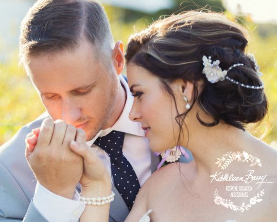 Two part crystal and pearl corded Lace hairpiece with pearl chain linked detail - Bridal flower hair pin - wedding hair piece lilac and cream ivory - colors to custom order Corded bridal lace hairpiece in ivory with dainty handmade fabric flowers - made up in two parts one 60mm