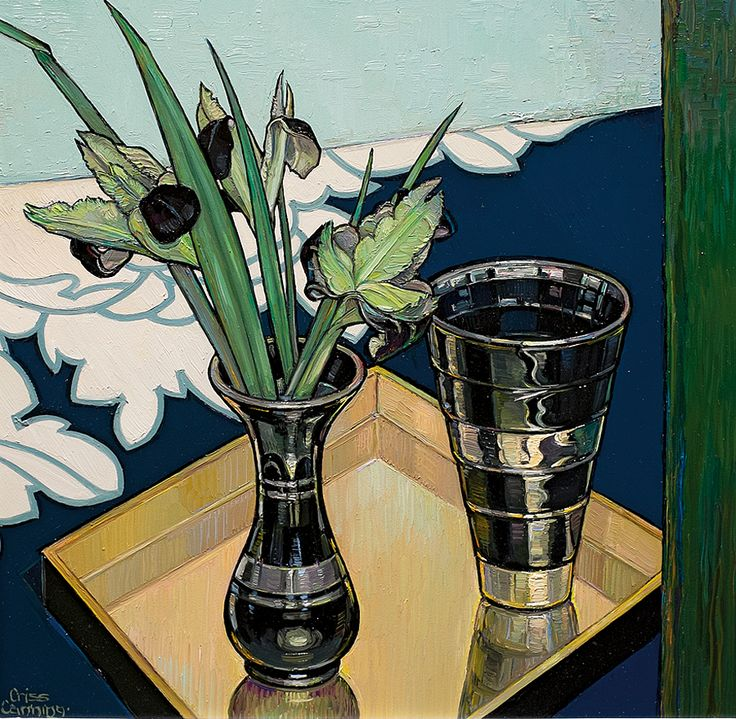 Criss Canning   Winter Flowering Albanian Iris 2013 oil on board, 31 x 31 cm
