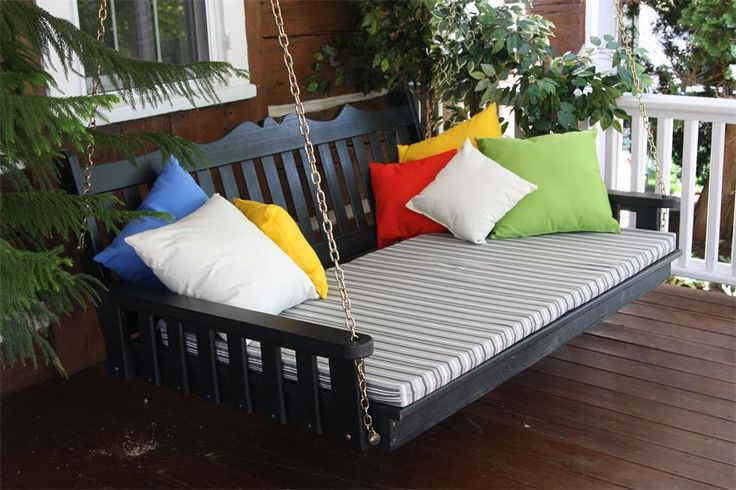 Amish Pine Wood Royal English Swing Bed Pretty in pine wood, this wood porch swing provides plenty of space with three custom made lengths.