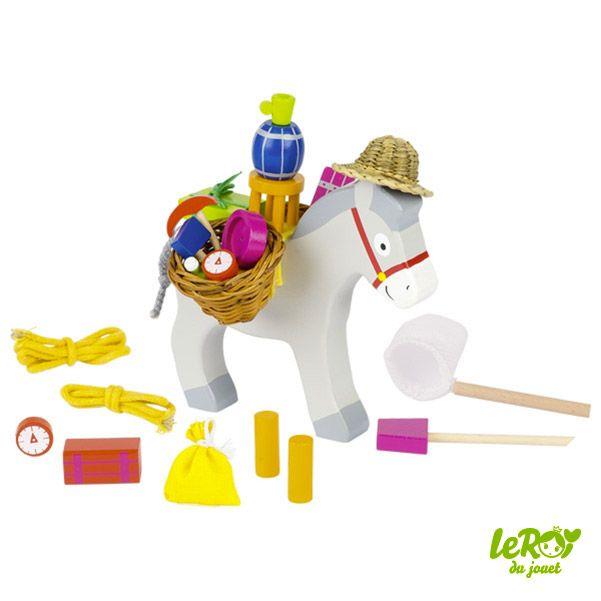 Jeu de bourricot, jeu d'adresse, âne, en bois, chapeau Leroy du jouet