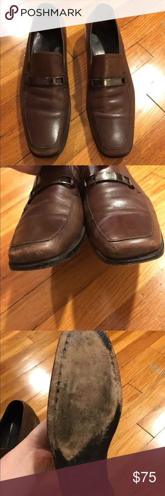Hugo Boss Men's Brown Loafers size 10.5 Super slick Hugo Boss loafers! A nice brown color in size 10.5. These are in good used condition, I tried my best to photograph the signs of wear. See photos of wear in toe area, some creasing, some wear on the soles and also some imperfections on the corners of the heels. Overall very nice! Hugo Boss Shoes Loafers & Slip-Ons