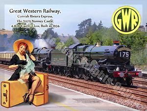 Nunney castle 5029 steam train gwr railway pin up girl small metal tin sign pin up girls - Small tin girl ...