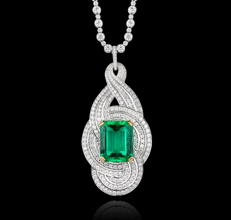 15.15 carat natural Colombian emerald, diamonds and white gold Necklaces Jewellery Garrard