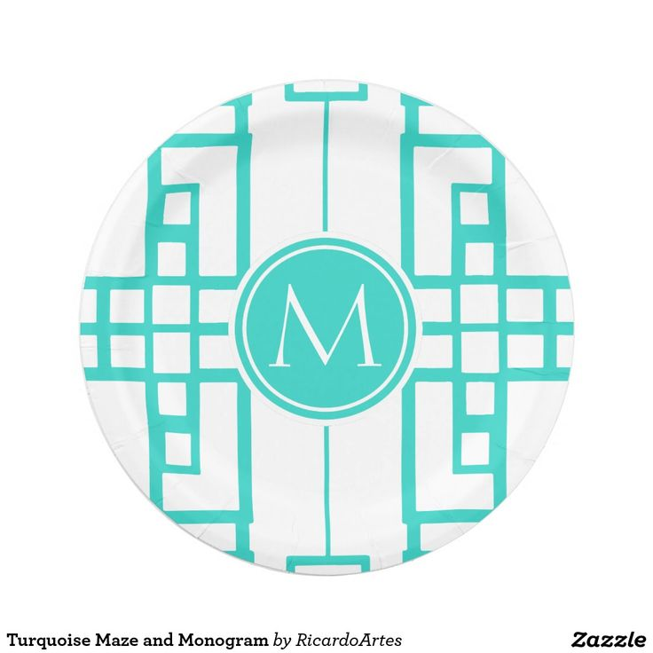 Turquoise Maze and Monogram Paper Plate  sc 1 st  Pinterest & 1000+ best Custom Party PAPER PLATES images on Pinterest | Christmas ...