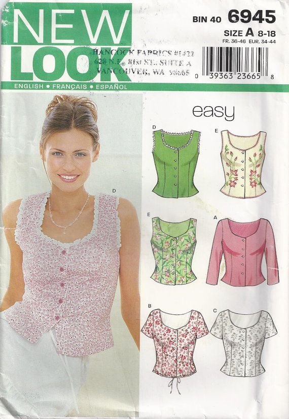 DIRNDL top - just cut lower  Summer Blouse Size 8 To Plus Size 18 Unused 2002 Sewing Pattern New Look 6945