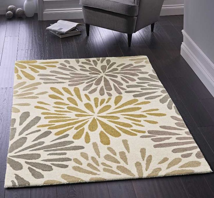 Floral Burst Ochre Grey Cool Rugs Clearance Rugs
