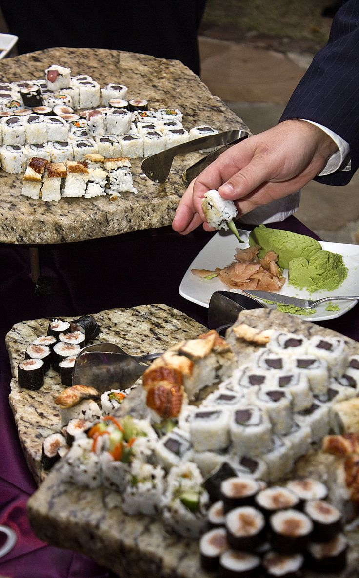 Traditional japanese wedding foods - Sushi Stations Are Always A Hit At Weddings We Can Create It All Japanese Buffetjapanese Foodgarden