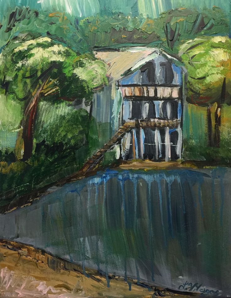 """Be Still Blue Home"" Original Acrylic landscape - lake painting"