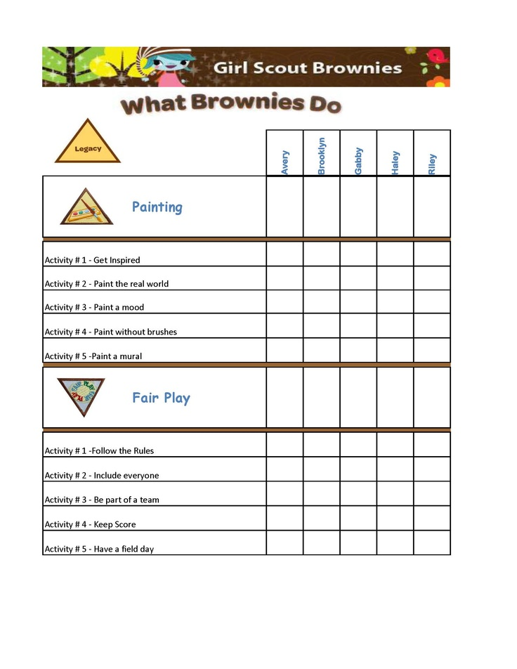 Badge work tracking form: Need to create something like this for our girls!    Girl Scout Brownies Legacy Badge Chart