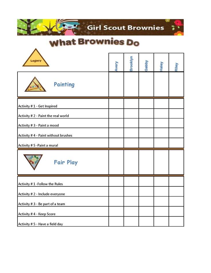 girl scout brownies badge chart brownies 20142015
